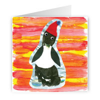 Card with penguin design